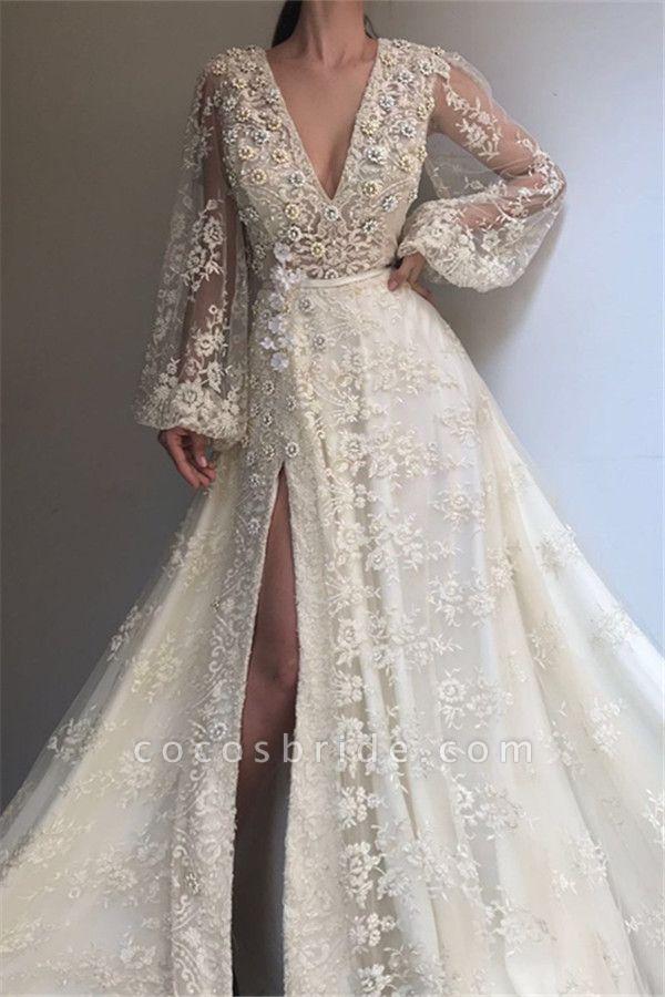 Excellent V-neck Appliques A-line Prom Dress