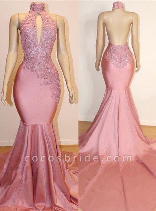 Halter Backless Mermaid Appliques Long Train Prom Dresses
