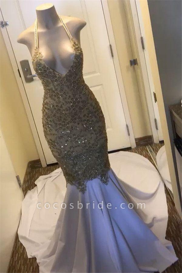 Eye-catching Halter Appliques Mermaid Prom Dress