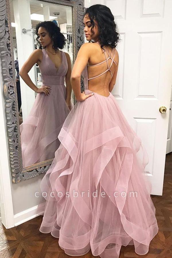 Latest Halter Cascading Ruffle A-line Prom Dress