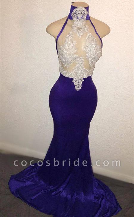 Wonderful High Neck Appliques Mermaid Prom Dress