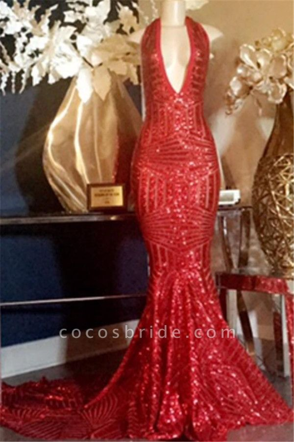 Excellent Halter Sequined Mermaid Prom Dress