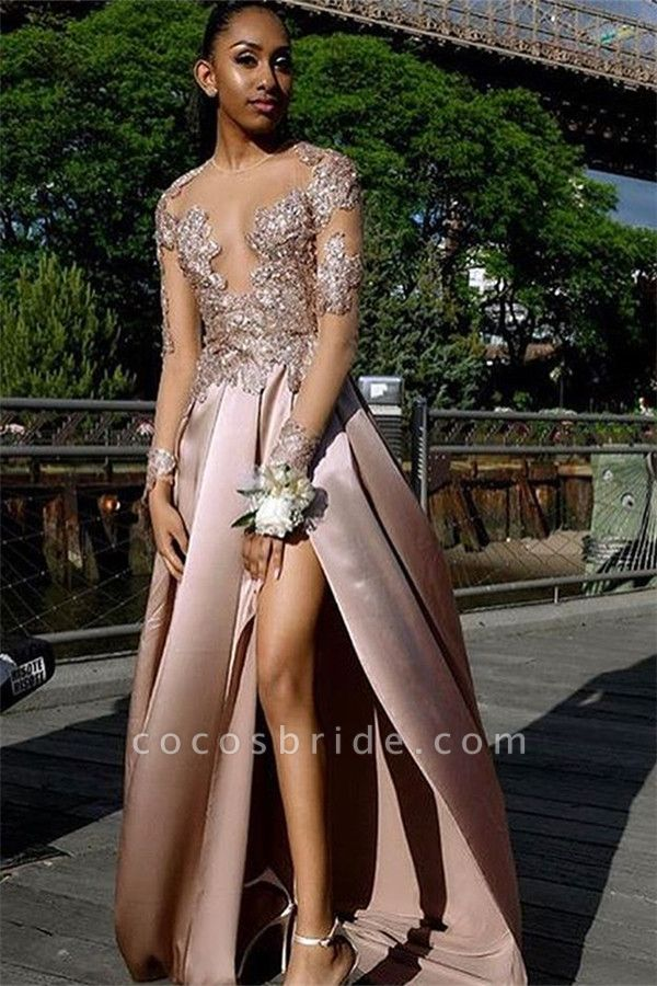 Beautiful Jewel Split Front A-line Prom Dress