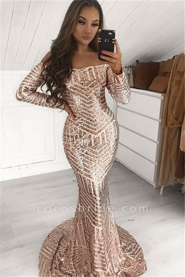Eye-catching Off-the-shoulder Sequined Mermaid Prom Dress