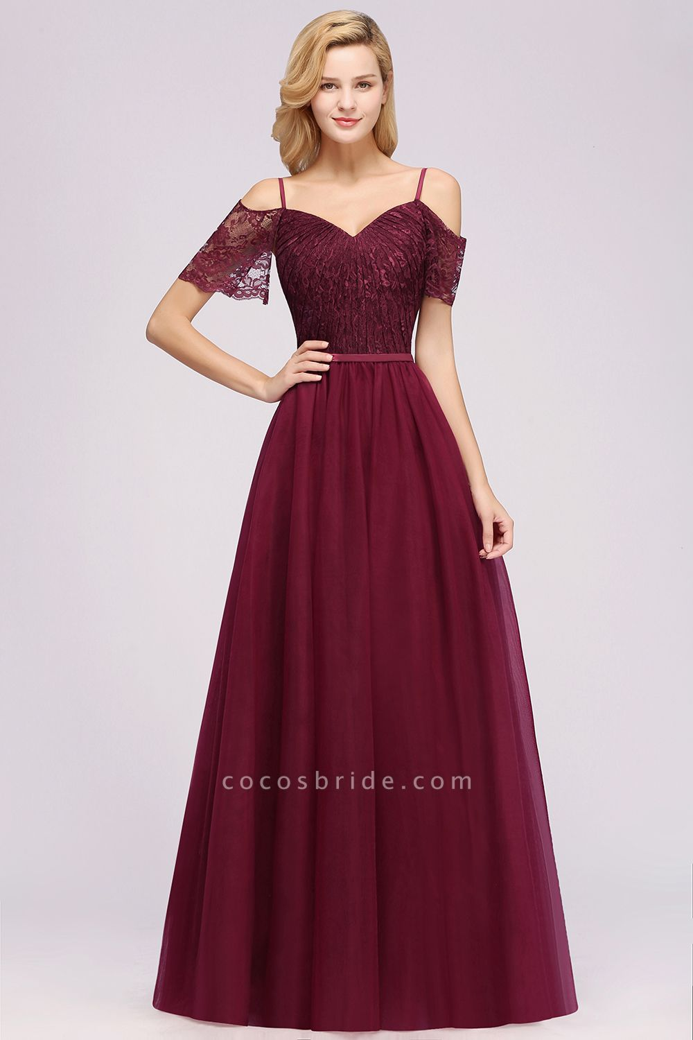 A-Line Chiffon Lace Sweetheart Spaghetti Straps Short-Sleeves Floor-Length Bridesmaid Dresses with Ruffles