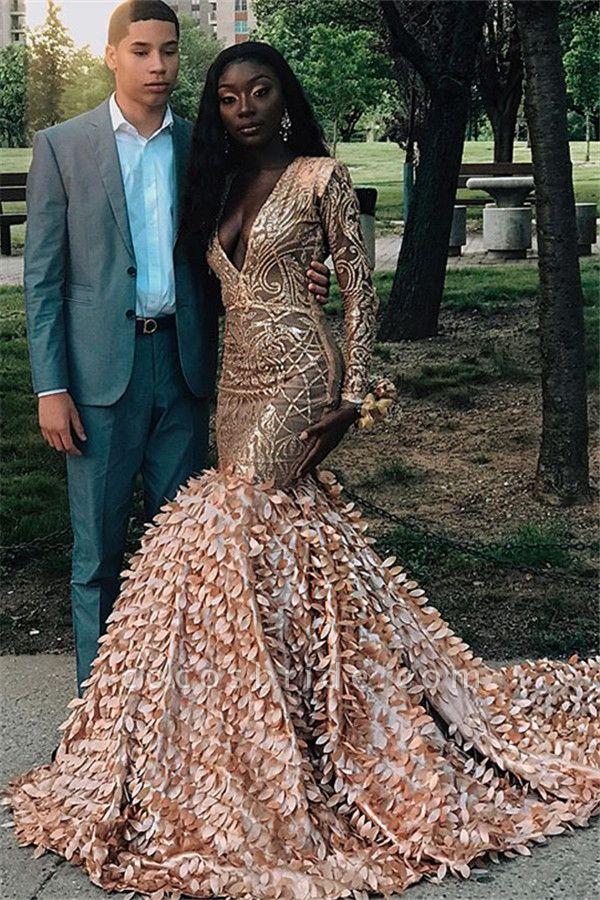 Amazing V-neck Appliques Mermaid Prom Dress