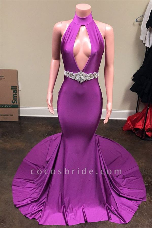 Wonderful Halter Crystal Mermaid Prom Dress