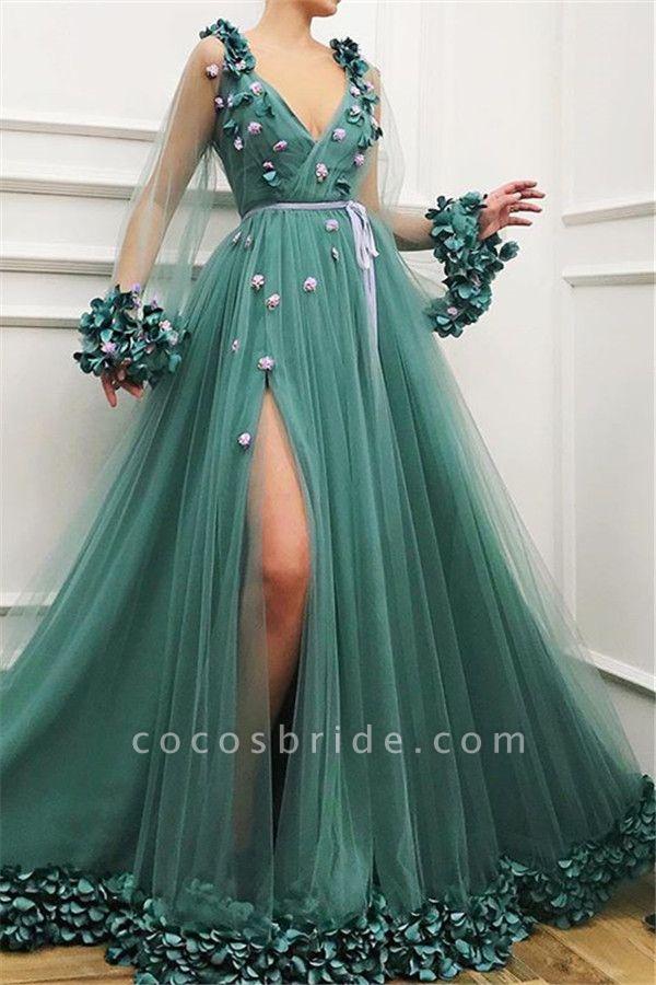 Best V-neck Flower(s) A-line Prom Dress