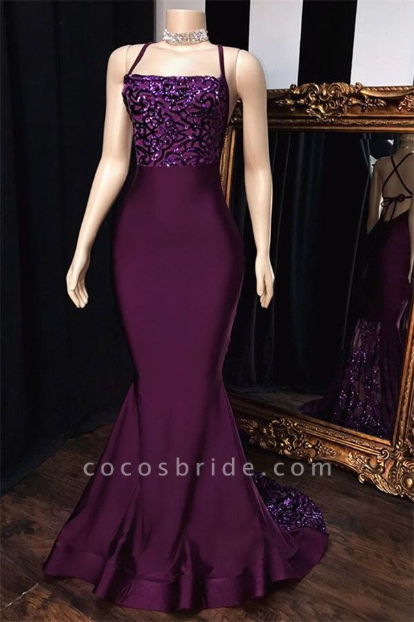 Chic Spaghetti Straps Appliques Mermaid Prom Dress