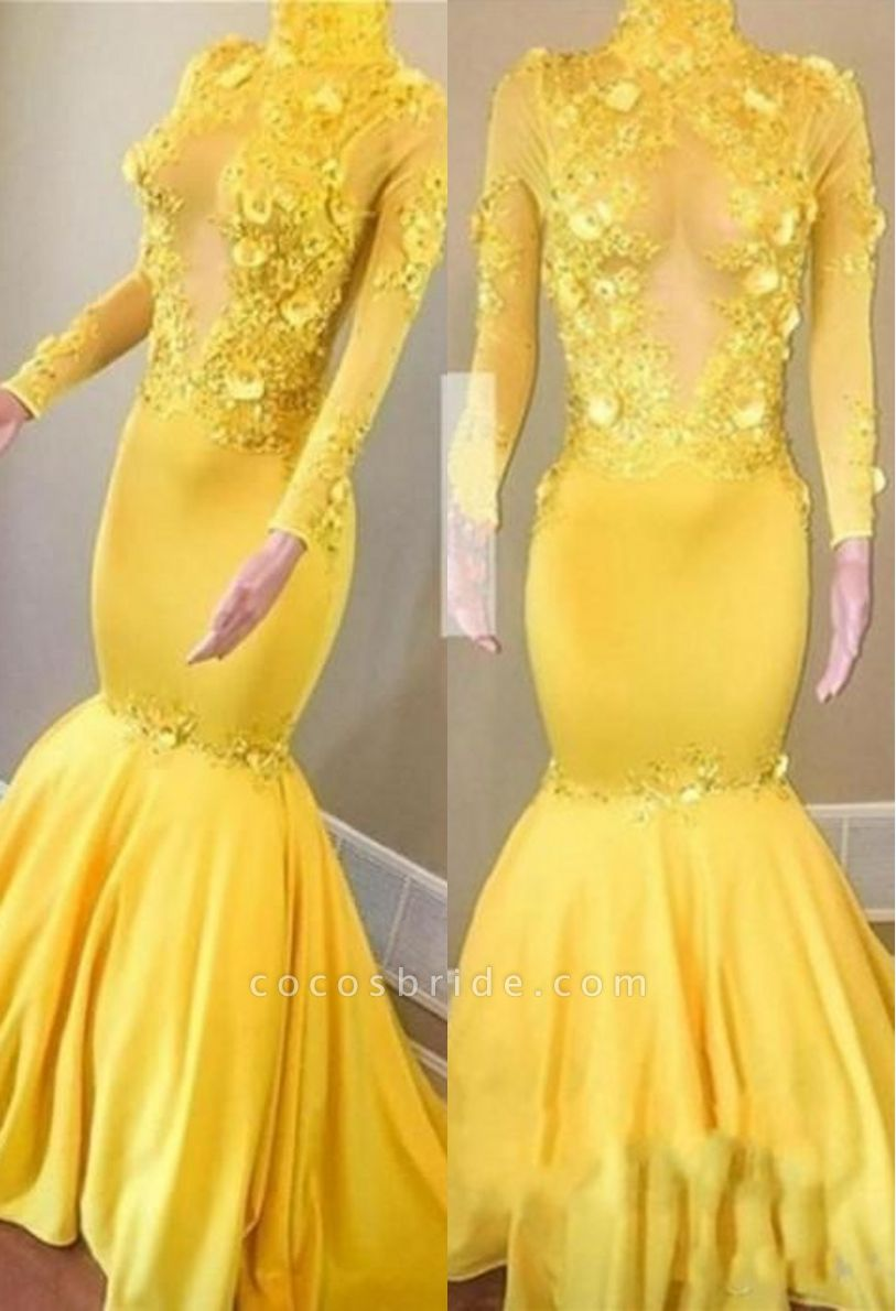 Yellow High Neck Flower Appliques Mermaid Long Sleeves Prom Dresses