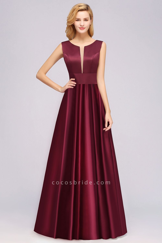 A-line Satin Deep-V-Neck Sleeveless Ruffles Floor-length Bridesmaid Dress