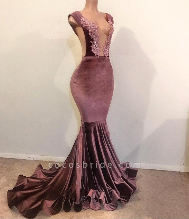 Mermaid Sleeveless Floor Length Appliques Velvet Prom Dresses