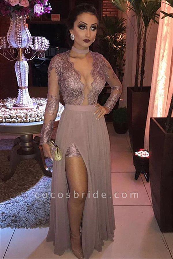 Gorgeous Appliques Tulle Long Sleeve A-Line Evening Dresses