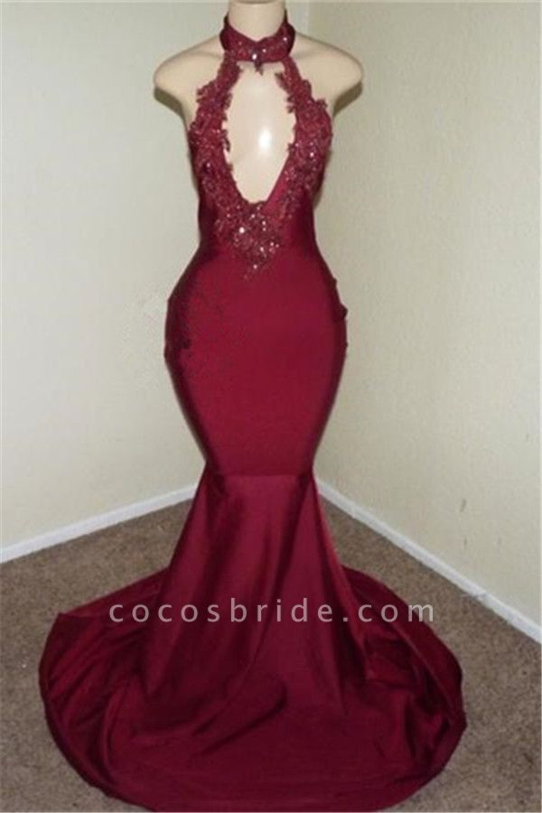 Best Halter Appliques Mermaid Prom Dress