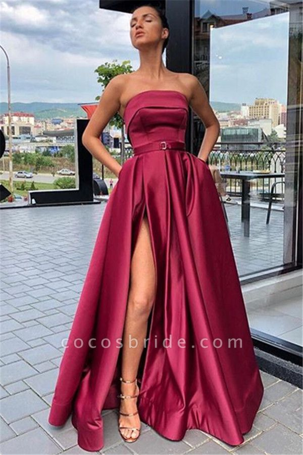 Affordable Strapless Ribbons A-line Prom Dress