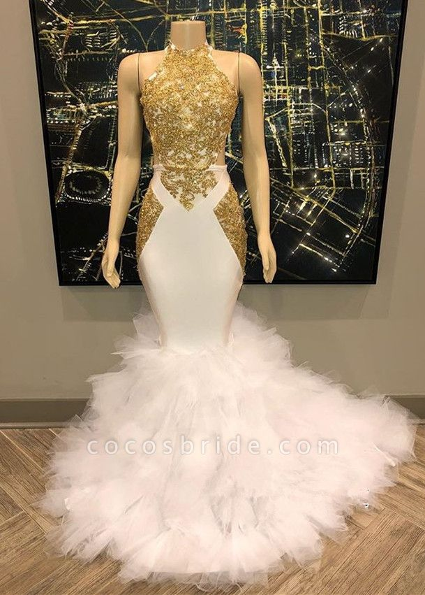 Sleeveless Golden Appliques Tulle Button Mermaid Prom Dresses