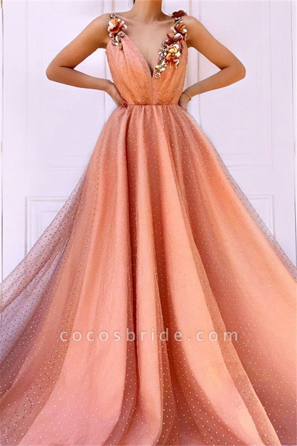 Fascinating Spaghetti Straps Appliques A-line Prom Dress