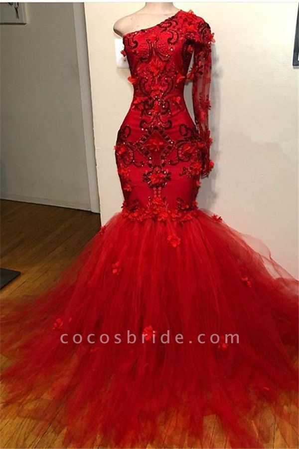 Chic One Shoulder Appliques Mermaid Prom Dress
