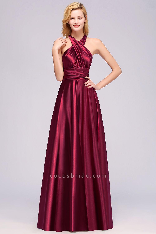 BM0143 Simple A-Line V-Neck Sleeveless Ruffles Floor Length Bridesmaid Dress