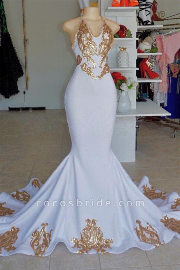 Attractive Halter Appliques Mermaid Prom Dress