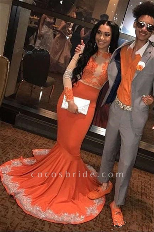 Beautiful Long Sleeve Appliques Mermaid Prom Dress