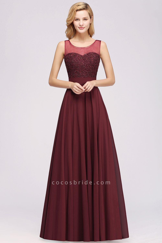 A-Line Chiffon Tulle Lace Beadings Jewel Sleeveless Floor-Length Bridesmaid Dresses with Sash
