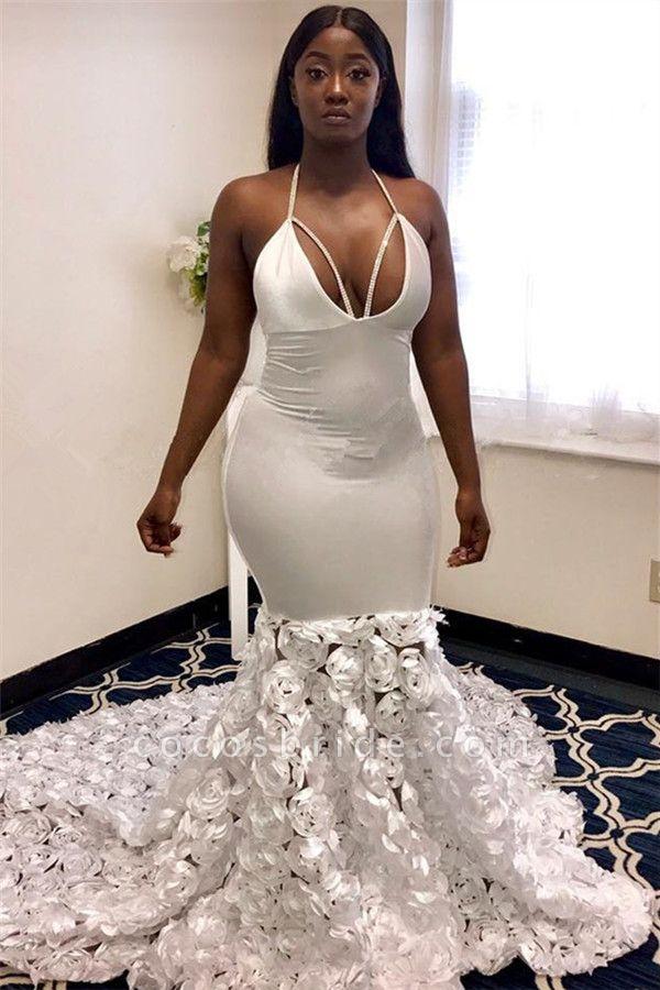Gorgeous Halter Deep V-Neck Flower Mermaid Prom Dress