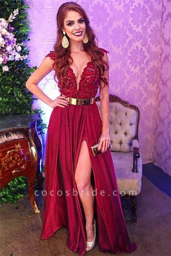 Sleek Straps Split Front A-line Prom Dress