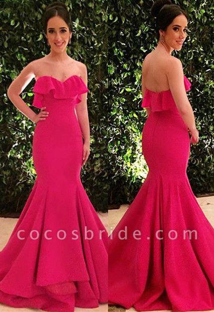 Best Strapless Cascading Ruffle Mermaid Evening Dress