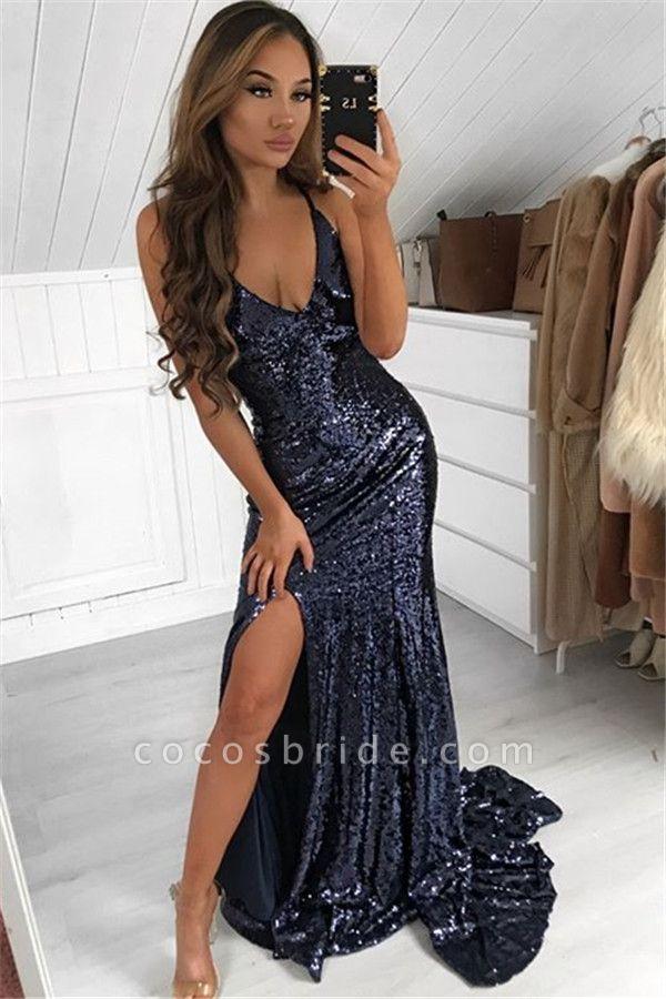 Excellent V-neck Sequined Mermaid Prom Dress