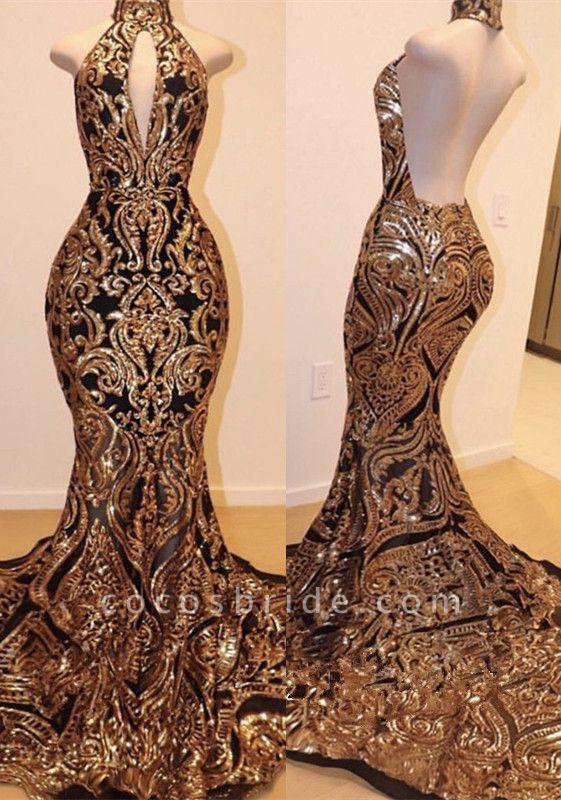 Halter Keyhole Neckline Sequins Appliqued Mermaid Prom Dresses