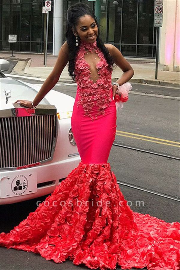 Eye-catching High Neck Appliques Mermaid Prom Dress