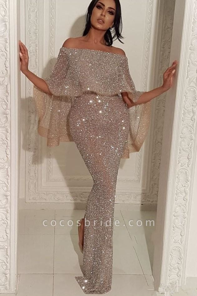Fascinating Off-the-shoulder Sequined Mermaid Prom Dress