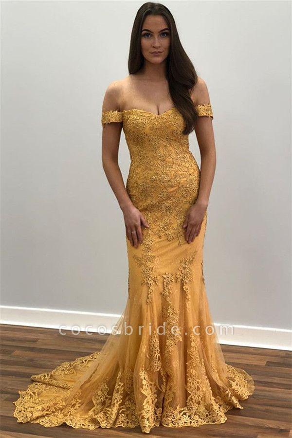 Sleek Off-the-shoulder Appliques Mermaid Prom Dress