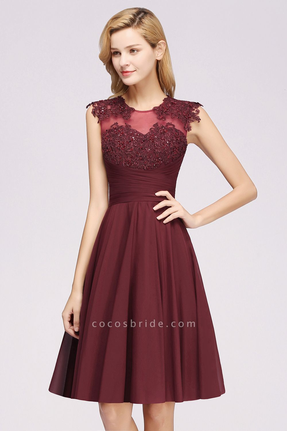 A-line Chiffon Appliques Jewel Sleeveless Knee-Length Bridesmaid Dresses with Ruffles
