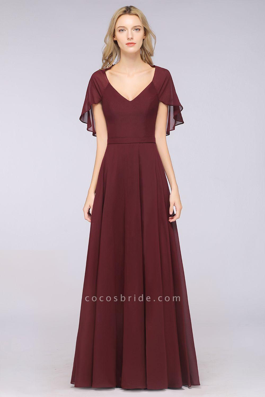 A-Line Chiffon Satin V-Neck short-sleeves Floor-Length Bridesmaid Dress