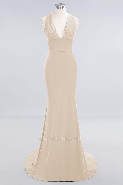BM0670 Elegant Mermaid Halter Pool V-neck Bridesmaid Dress