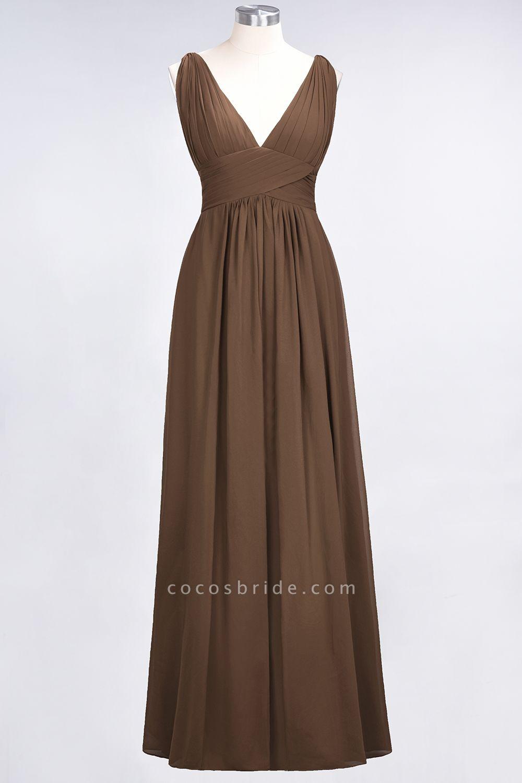 A-Line Chiffon V-Neck Sleeveless Floor-Length Bridesmaid Dress with Ruffle