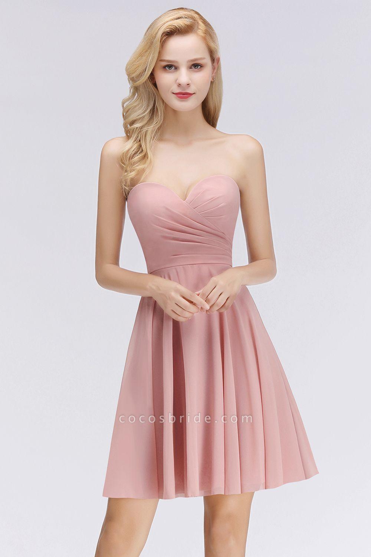 BM0060 Simple Pink Sweetheart Short Bridesmaid Dress