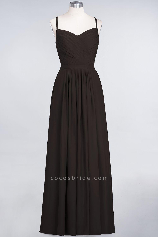 A-Line Chiffon Spaghetti-Straps Sweetheart Sleeveless Floor-Length Bridesmaid Dress with Ruffles