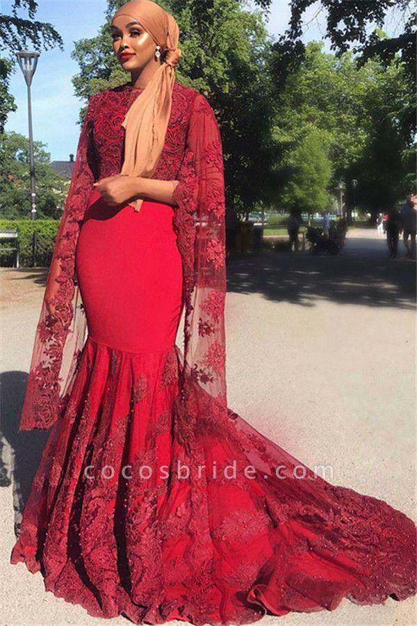 Chic Jewel Appliques Mermaid Prom Dress