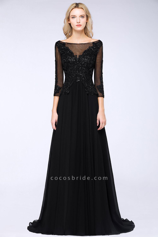 BM0764 Black 3/4 Sleeves Beads A-Line Appliques Bridesmaid Dress