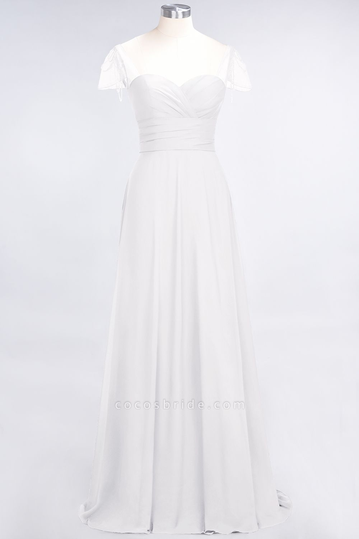 A-Line Chiffon Sweetheart Cap-Sleeves Ruffle Floor-Length Bridesmaid Dress with Beadings