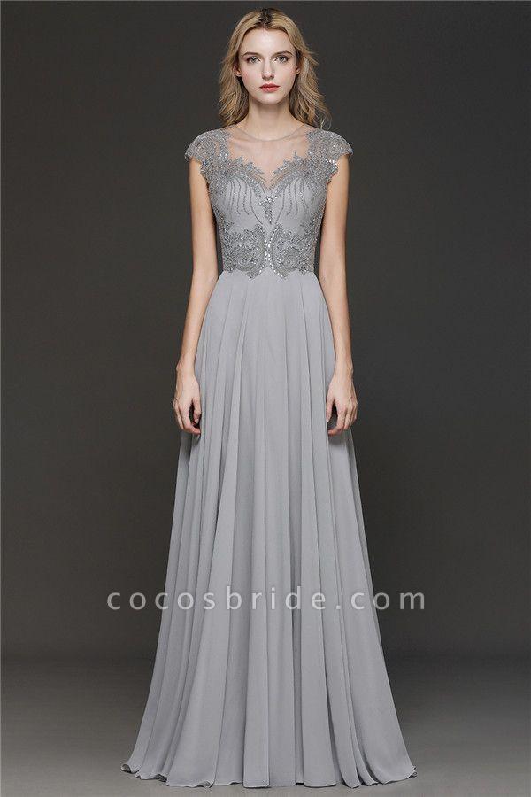 BM0755 Crystal Appliques Sweetheart Cap sleeves Side Slit Bridesmaid Dress