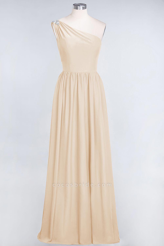 A-Line Chiffon One-Shoulder Sleeveless Ruffles Floor-Length Bridesmaid Dress with Beadings