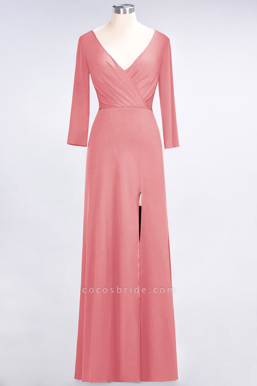 A-Line Spandex V-Neck Long-Sleeves Side-Slit Floor-Length Bridesmaid Dress with Ruffles