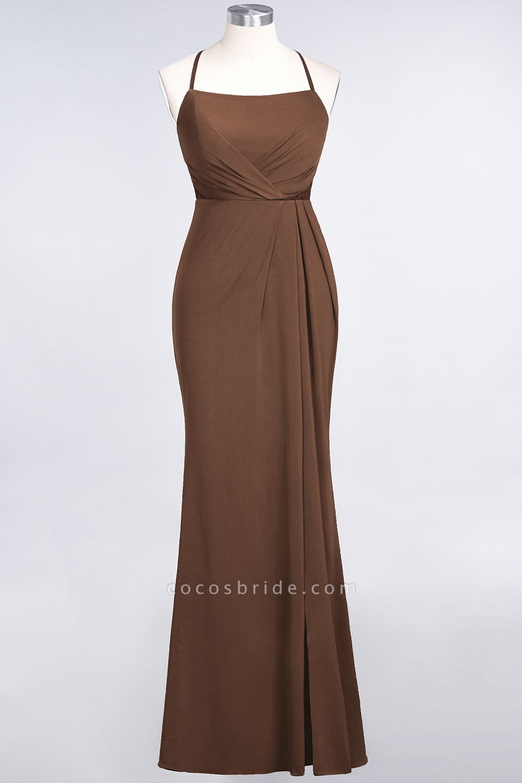 Mermaid spandex Lace Spaghetti-Straps Sleeveless Floor-Length Bridesmaid Dress with Ruffle