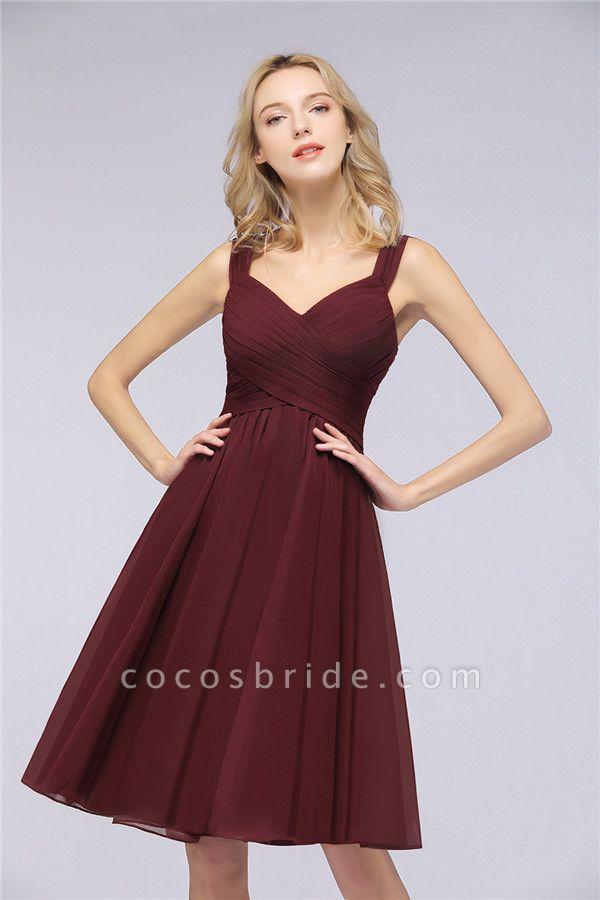 BM0410 Sexy Ruffles Straps Sleeveless Short Bridesmaid Dresses