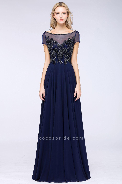 BM0763 Elegant A-Line Short Sleeves Appliques Beads Bridesmaid Dress