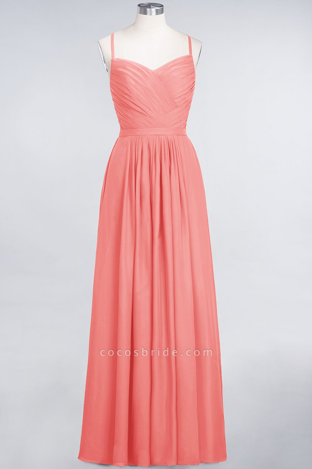 A-Line Chiffon Spaghetti-Straps Sweetheart Sleeveless Floor-Length Bridesmaid Dress with Ruffles